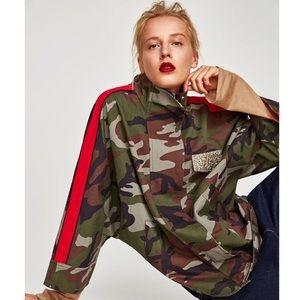 Zara Camouflage Jacket with Red Stripe